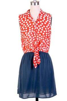 Red and Blue Polka Dot Dress