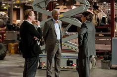 Christopher Nolan with Morgan Freeman and Christian Bale.