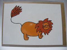 Leonard the Lion Postcard Print by LittlemouseLilly on Etsy, £1.50