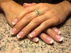 Full set of sculpted French LCN Gel nails. Just gorgeous! Nails by: Gina Noble