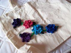 Sacola de algodão cru com flores