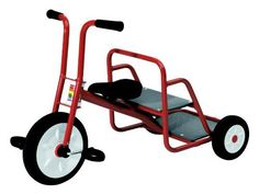 Kid's Red Tricycle w Rear-Facing Passenger Seat - Ages 3 to 6 by Foundations Worldwide Inc.. $209.44. Quickly single seat tricycle has steel frame with red finish, contoured seat, soft grip handles and rear rack. For ages 3-6 years. Made in Italy . Red . Recommended for ages 3 to 6 years . Rear facing passenger seat . High quality painted steel with molded construction . Injection molded wheels . Child-safe construction . Commercial grade . Max rider weight: 77 lbs. . 36 in....