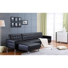 """""""Featuring a decidedly retro look, the stunning Marsden sofa set combines tufted PU leather with clean, contemporary lines. Sleek metallic legs provide a dramatic accent. This spacious and comfortable..."""