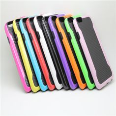 Sale 25% (3.29$) - Double Color Small Blade TPU PC Back Case For iPhone 6 Random Delivery