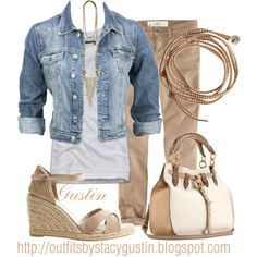 Jean jacket & khakis, created by stacy-gustin on Polyvore