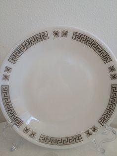 JAJ Pyrex Greek Key Grey Side Plate c1968 by modernlookvintage