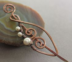 Swirly leaf shawl pin scarf pin in copper with by IngoDesign, $28.00
