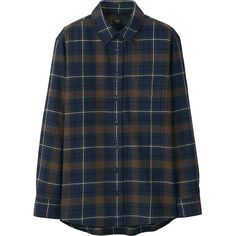 WOMEN FLANNEL CHECK LONG SLEEVE SHIRT ❤ liked on Polyvore featuring tops, uniqlo, flannel top, long sleeve flannel shirts, blue flannel shirts and blue checkered shirt