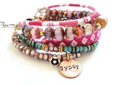 Bohemian hippie bracelet with friendship bracelets by OOAKjewelz, €78.00