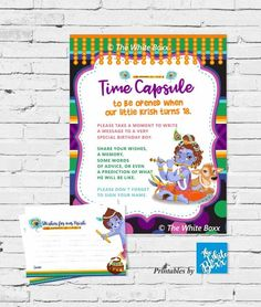 Krishna / Kisna (Hindu God) themed Time Capsule & Wishes Card / Guest Book for Boy - Any Age Baby 1st Birthday, Special Birthday, Cool Haircuts, Cool Hairstyles, Krishna Birthday, Word Of Advice, Books For Boys, Time Capsule, Note Cards