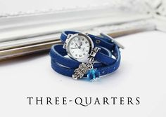 Watch / clock with owl and blue pearl blue by ThreeQuartersDiary