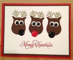 Stampin' Up!, Owl Punch, Christmas and Rudolph Stamped Christmas Cards, Christmas Cards To Make, Noel Christmas, Christmas Greeting Cards, Holiday Cards, Reindeer Christmas, Christmas Ideas, Owl Punch Cards, Envelopes