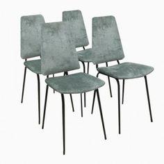 Vintage Italian Velvet Chairs, Set of 4