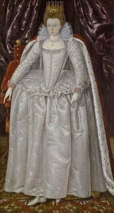 artist unknown - date - ca. 1603 - Elizabeth Vernon, Countess of Southampton (1572-1655), probably dressed for the coronation of James I of England in 1603 dressed in white with her countess's coronet  mantle. Fitzwilliam Museum, Cambridge University - Cambridge UK (NB: many pins with this painting in reverse! - this is the correct way to display)