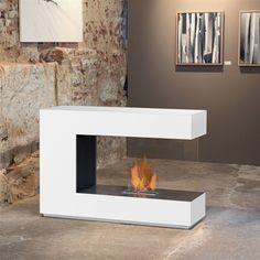 line - room divider ethanol fireplace: pure white - safety .line – room divider ethanol fireplace: pure white – safety box Fireplace Lighting, Bioethanol Fireplace, Modern Fireplace, Fireplace Design, Fireplaces, Design Loft, House Design, Living Room Designs, Living Room Decor