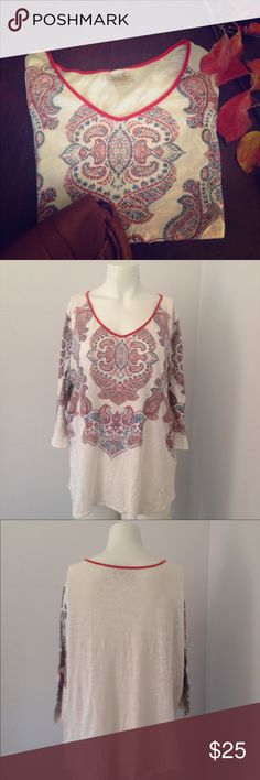 Lucky Brand shirt size 2x Lucky Brand shirt size 2x . White with a orange and blue paisley design, semi sheer cotton blend. Good condition Lucky Brand Tops