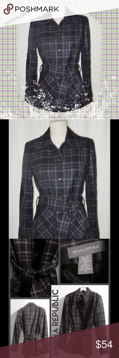 """NWOT 🌥 BANANA REPUBLIC 100% WORSTED WOOL PLAID 🌥 By 🍌BANANA REPUBLIC, Classic single-breasted, navy tartan plaid with pink.🌂!!!  Cold weather 100% Worsted Wool jacket with self-belt.  Great for work, school or play !!!😍. Lining is 100% Rayon. Sleeves 24"""", Jacket Length 27-1/2"""".  NWOT"""". *** The color was really difficult to capture.  In the stock photo, you can't see tiny pink lines in the plaid.  The next pics are the actual photos, but they're monotone, because the pics kept coming out…"""