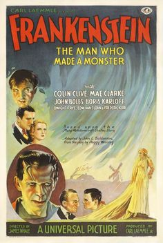 Frankenstein is a 1931 American pre-Code horror monster film from Universal Pictures directed by James Whale and adapted from the play by Peggy Webling (which in turn is based on the novel of the same name by Mary Shelley Horror Movie Posters, Old Movie Posters, Classic Movie Posters, Classic Horror Movies, Movie Poster Art, Classic Films, Film Posters, Horror Films, Retro Posters