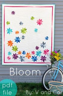V and Co. Bloom Quilt - Downloadable Pattern [1PA-Download-VAC-BQ] - $9.00 : Pink Chalk Fabrics is your online source for modern quilting cottons and sewing patterns., Cloth, Pattern + Tool for Modern Sewists