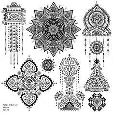 Set Of Aztec Tribal Elements And Symbols  - Tattoos Vectors