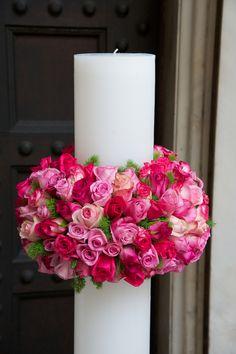 Στολισμός Λαμπάδας γάμου με τριαντάφυλλα