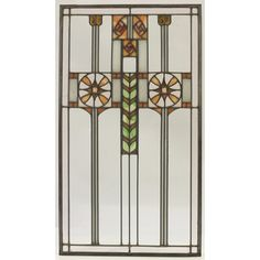 """Prairie School Leaded Glass Light Screen Window Panel. Clear & Coloured Glass with Lead Came. America. Circa 1900. 32"""" x 18""""."""