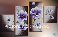 Modern abstract Oil Painting On Canvas huge wall art beautiful purple flower Free shipping