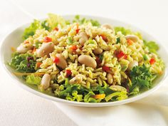 Mediterranean Rice Salad - This simple salad features rice, beans, greens and peppers for a fresh lunch or dinner option.