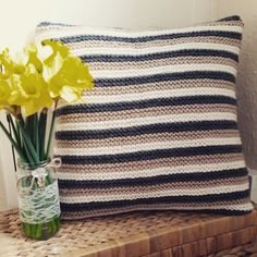 Chunky knit pillows  Etsy listing at https://www.etsy.com/listing/227318317/stripe-chunky-knitted-cushion-cover-with