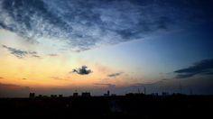 view while sun is setting 🌅 @Bangka,Indonesia #bangka #Indonesia #sunset #sky #cloud #sun #blue #orange #beach