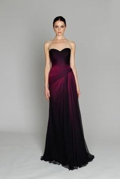 ombre bridesmaid dress LOVE the wine color of this for fall or winter!