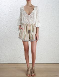 Shop new arrivals from the Summer Swim, Ready-to-Wear & Resort Collections from ZIMMERMANN. Work Shorts, Ready To Wear, White Dress, Style Inspiration, Boho, Model, How To Wear, Draw, Shopping