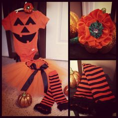 "Custom Halloween ""Pumpkin"" Costume. Visit my page at www.facebook.com/aprilshowersboutique6"