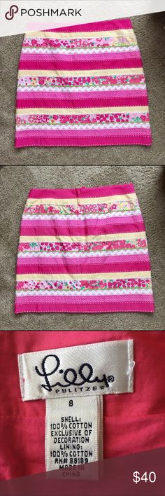 "Lilly Pulitzer White Label Ribbon patchwork skirt Lilly Pulitzer White Label Ribbon patchwork skirt. 100% cotton. Approximate measurements: 32"" waist, 19"" length. Lilly Pulitzer Skirts"