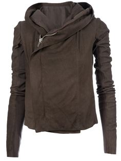 Brown leather jacket from Rick Owens featuring a large creased leather hood, an asymmetric front zip fastening and long fitted sleeves with grey wool inner arm panels.