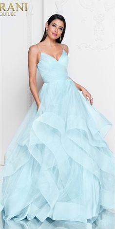 Turquoise Ruffled Prom Dress
