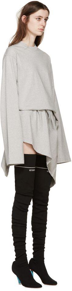 Vetements: Grey Jersey Wrap Dress | SSENSE