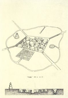Léon Krier, Labyrinth City Project, 1971 (via archiveofaffinities) Paper Architecture, Vernacular Architecture, Architecture Graphics, Urban Architecture, Architecture Drawings, Leon Krier, Image 3d, Simple Art, Designs To Draw