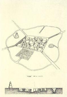 Léon Krier, Labyrinth City Project, 1971 (via archiveofaffinities)
