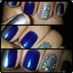 shellac - navy blue with feature nail