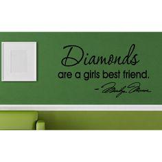 Inscription Diamonds Are a Girl's Best Friend Wall Art Sticker Decal