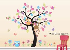 Nursery Wall Decal With Birds Owls Monkeys Flowers Tree - Patterned Leaves - Baby - Vinyl Sticker