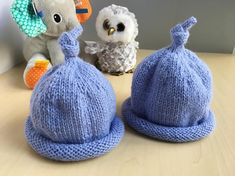 Ready to ship  Hand knitted blue baby hat  newborn hat