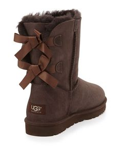 "UGG Australia Bailey Bow-Back Short Boot, ""CHOCOLATE!!!!!"" lol spongebob refrences"