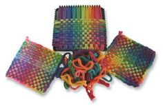 Potholder Deluxe Kit from Harrisville Designs includes a sturdy metal loom and enough bright, cotton loops to make six x handwoven potholders. Makes a great gift! Art For Kids, Crafts For Kids, Arts And Crafts, Potholder Loom, Peg Loom, Loom Weaving, Weaving Kids, 90s Kids, Tejidos