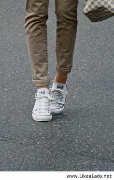White Converse and khaki