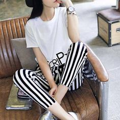 8ec8ef80191b Women Two Piece Set Fashion Lovely Printing Letter Stripe Haren Pants  Harajukuuotelab Two Piece Sets