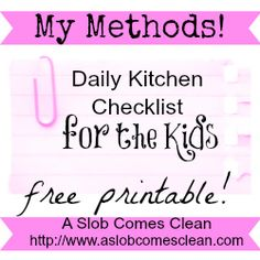 My Daily Kitchen Checklist for the Kids & free Printable
