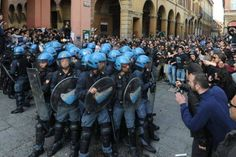 Police rounded in Piazza Verdi, Bologna, Italy