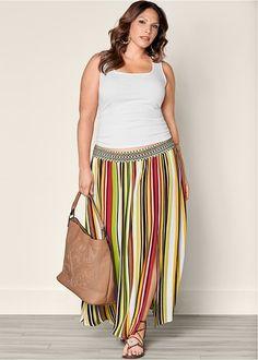 2a324e1a60ad3 FRONT VIEW Stripe Print Maxi Skirt Plus Fashion
